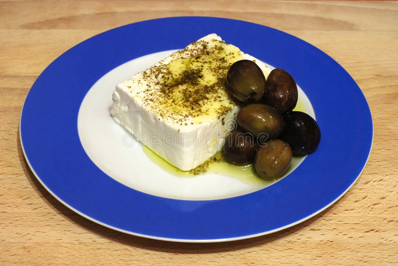 Feta cheese and black olives