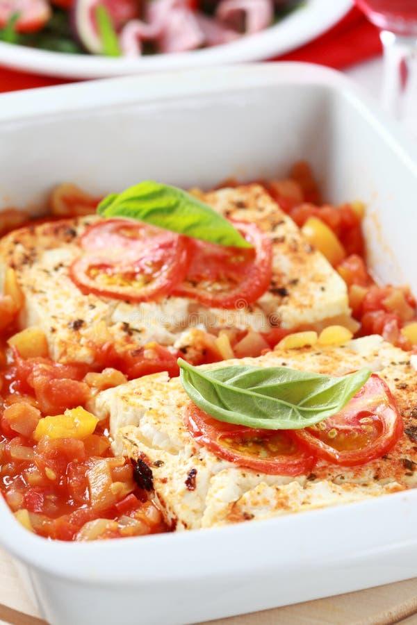 Feta cheese with hot salsa sauce royalty free stock photos