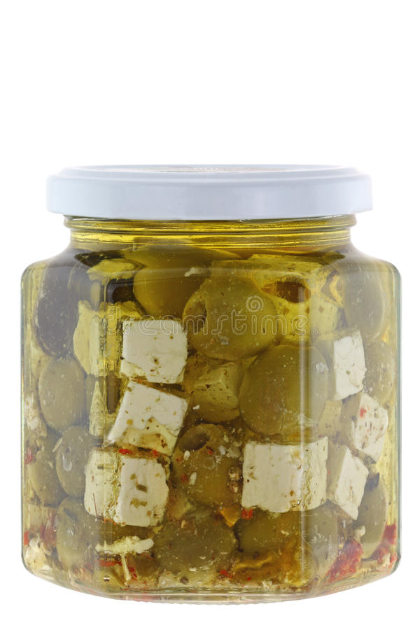 Feta cheese in Olive oil and herbs royalty free stock photo