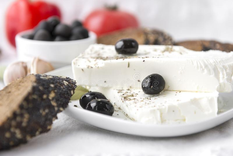 Feta, Greek cheese, olives, bread, spices. Food, , food stock photography