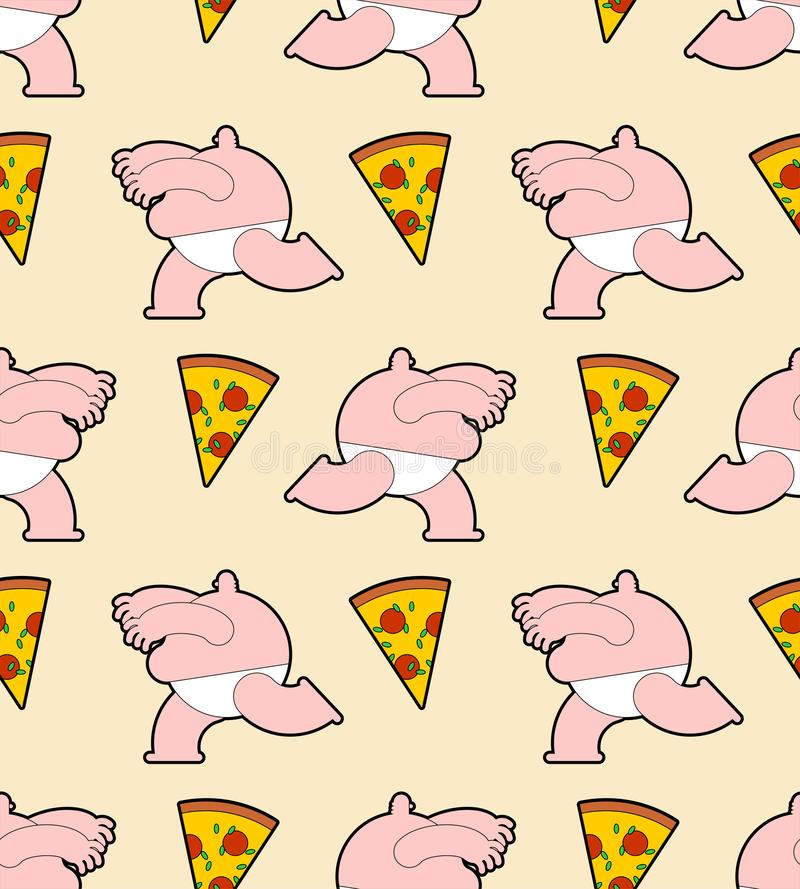 Feta män som kör för den sömlösa pizzamodellen Fet folk- och snabbmatbakgrund stock illustrationer