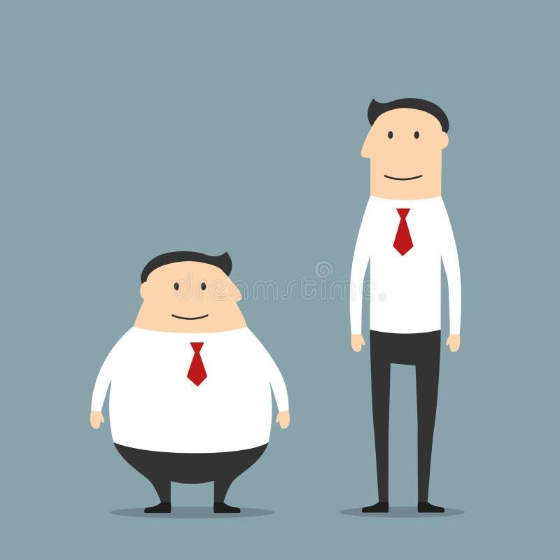 Feta och magra le affärsmän vektor illustrationer