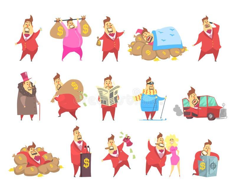 Feta rika miljonärmän i den röda dräkten, roligt kapitalistiskt tecken i olika lägevektorillustrationer på en vit royaltyfri illustrationer