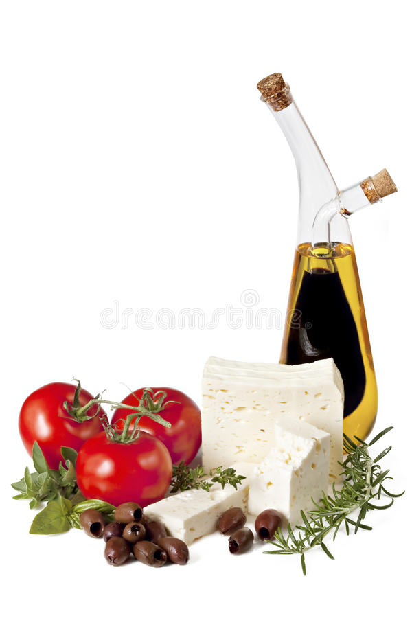 Feta, Tomaten, Olijven, Kruiden en Olie royalty-vrije stock foto's