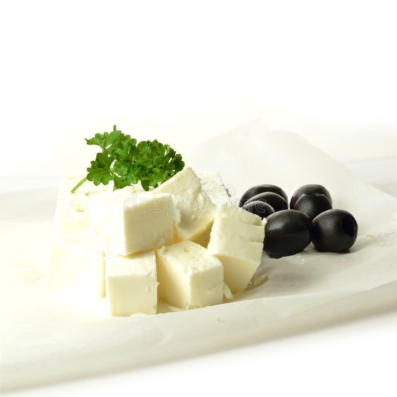 Feta und schwarze Oliven 3 lizenzfreie stockbilder