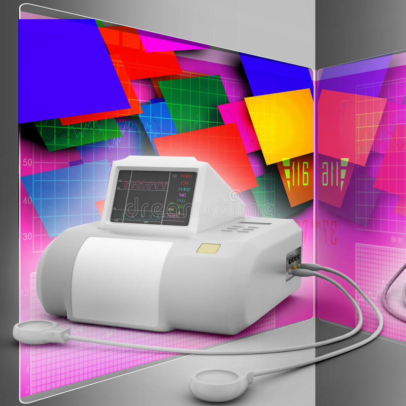 Fetal monitor. In color background stock illustration