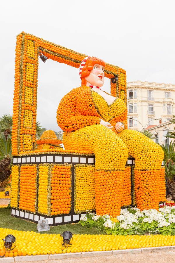 Fete du Citron in Menton, France. Art made of lemons and oranges in the famous carnival of Menton, France. Fete du Citron stock photos
