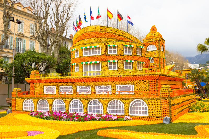 Fete du Citron in Menton, France. Building made of lemons and oranges in the famous carnival of Menton, France. Fete du Citron stock photography