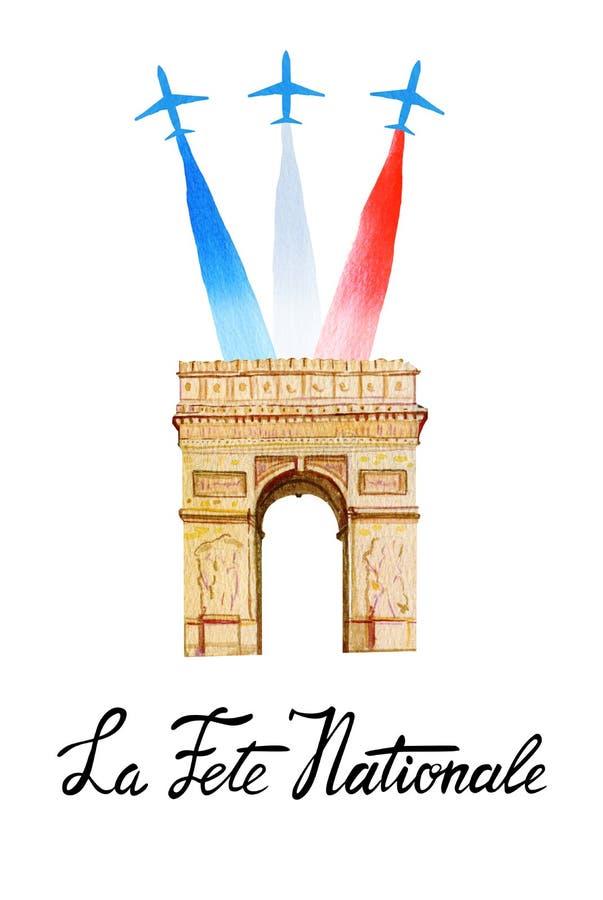 Fete Nationale Ла ` Национального праздника ` текста французское Дизайн карточки и плаката Вручите вычерченную иллюстрацию акваре иллюстрация вектора