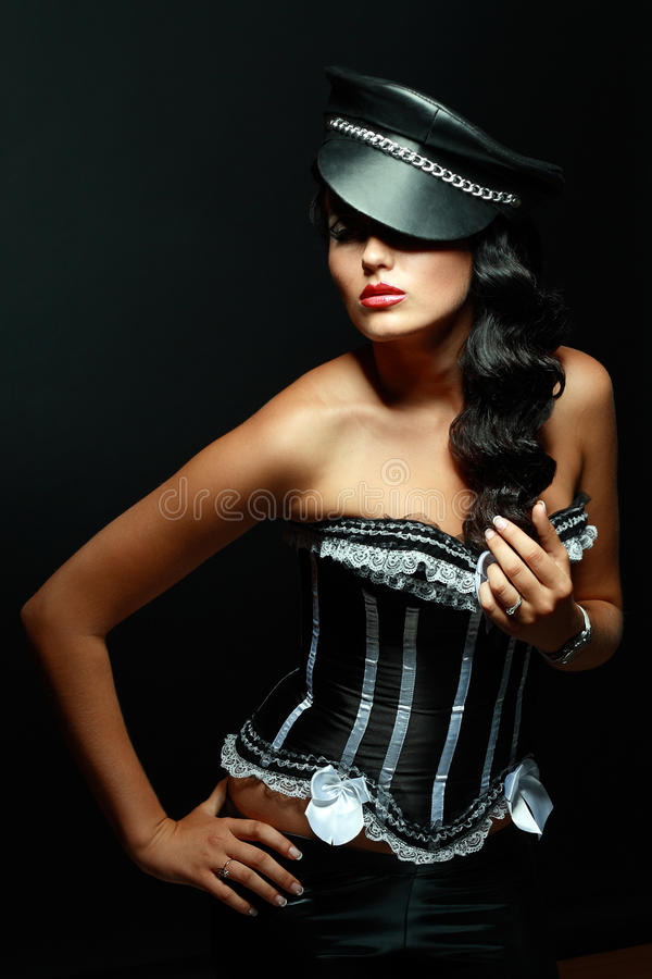 Fetish model in outfit royalty free stock image