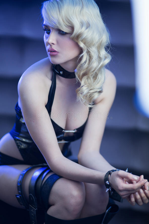 Download Fetish Pretty Lady In Serious Pose Stock Photo - Image of attractive, hells: 29784738