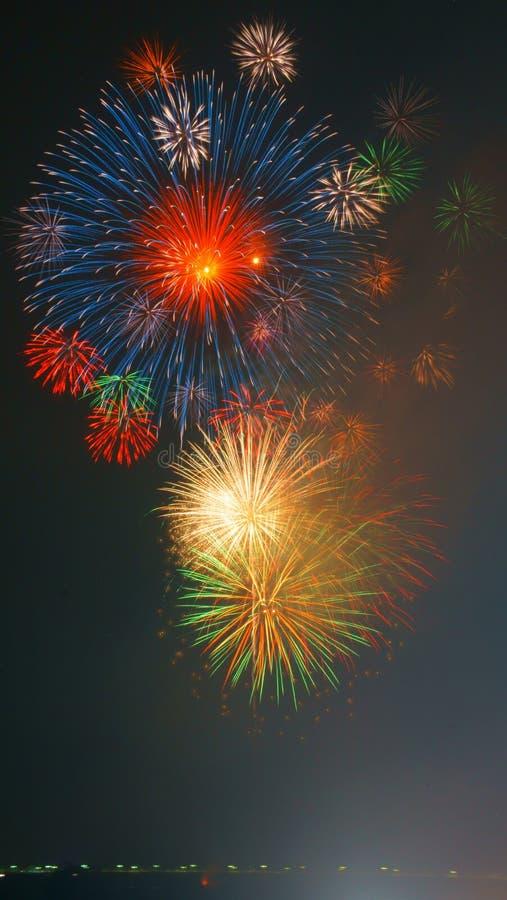 Fetival Nobi (Noubi) groot vuurwerk stock fotografie