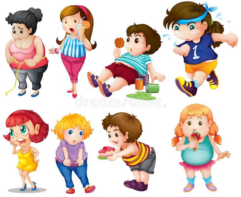 Fett folk vektor illustrationer