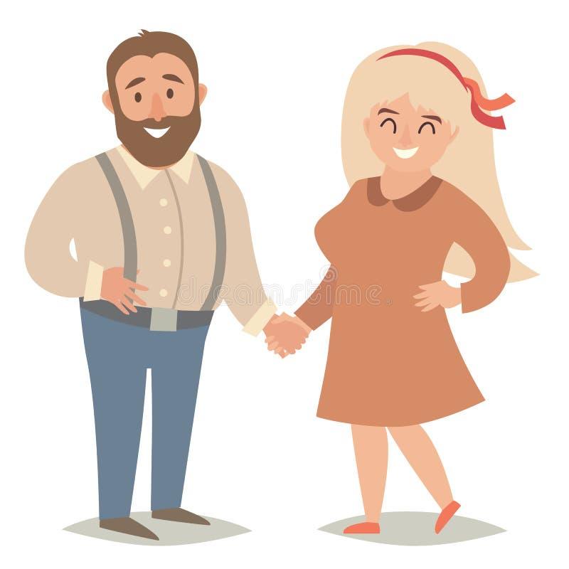 fett folk Plus formatfolk Lyckliga feta par, man och kvinnor stock illustrationer