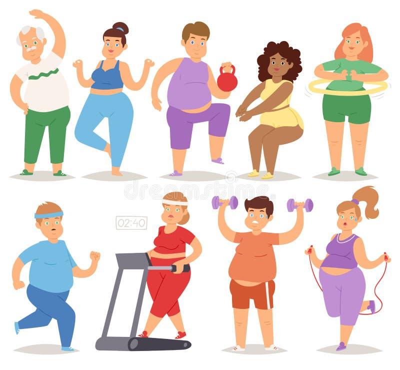Fett folk som gör illustrationen för vektor för genomkörare för tecken för fettig mat för sport för gymnastiksal för övningsutbil vektor illustrationer