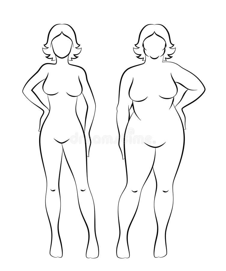 Fett och slank kvinna royaltyfri illustrationer