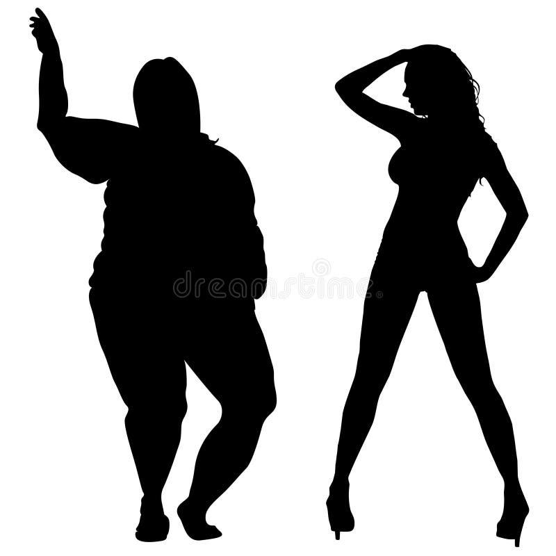 Fett och slanka kvinnor vektor illustrationer