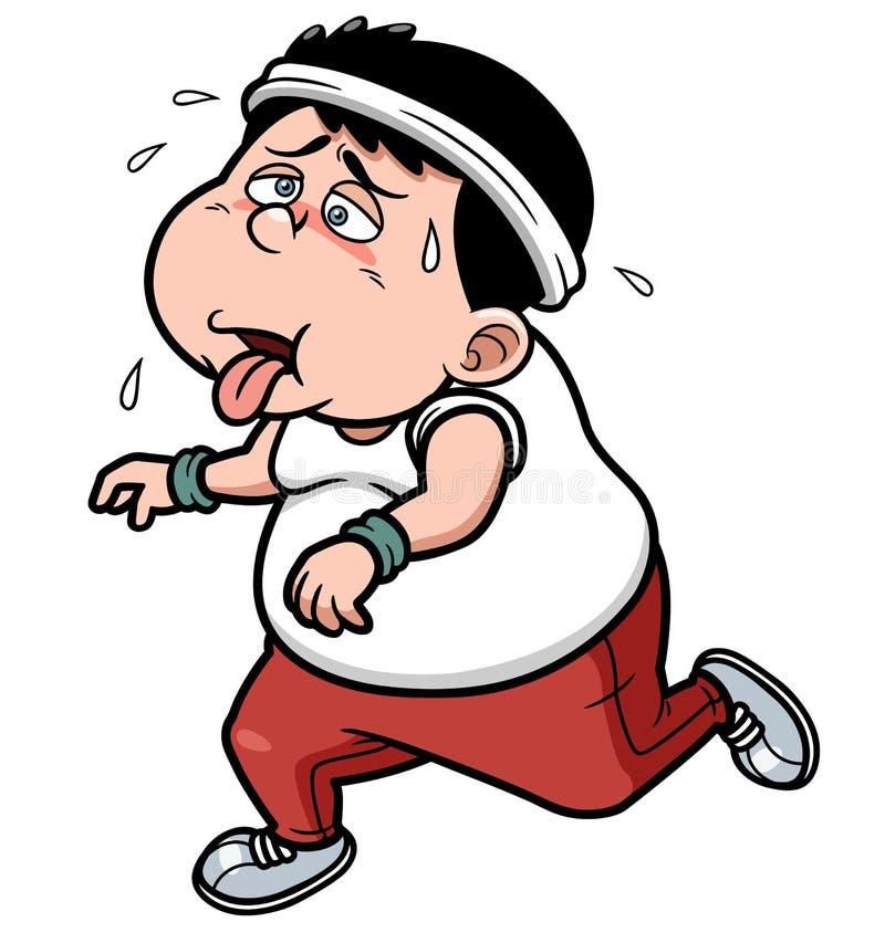 Fett tröttat jogga för man royaltyfri illustrationer