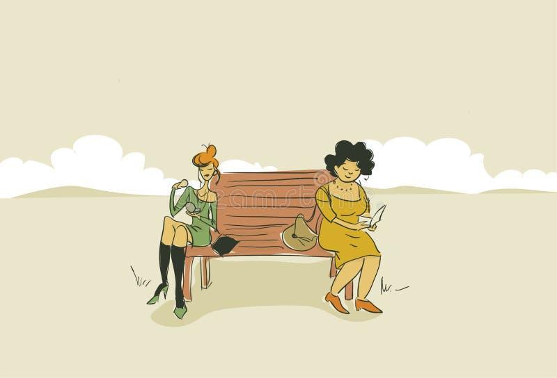 Fett und Sitzfrauenillustration im Freien stock abbildung