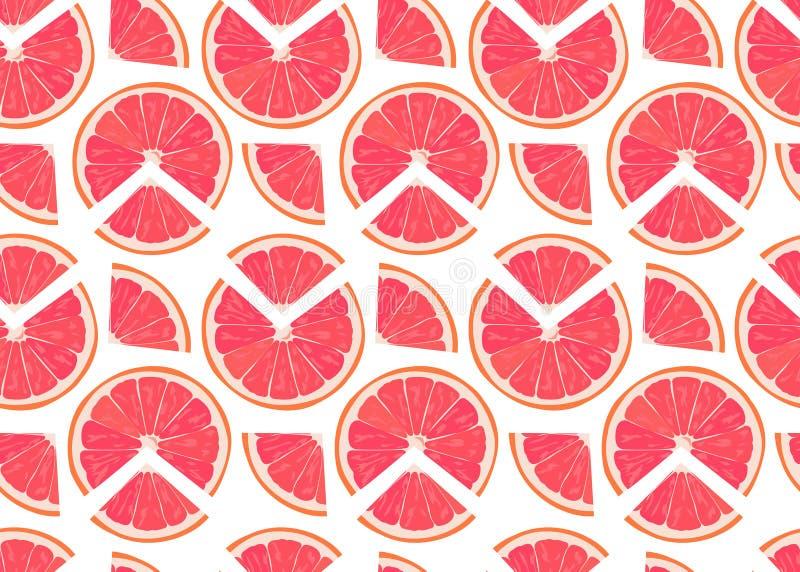 Fetta arancio di frutti e modello senza cuciture del pezzo su fondo bianco Vettore degli agrumi del pompelmo royalty illustrazione gratis