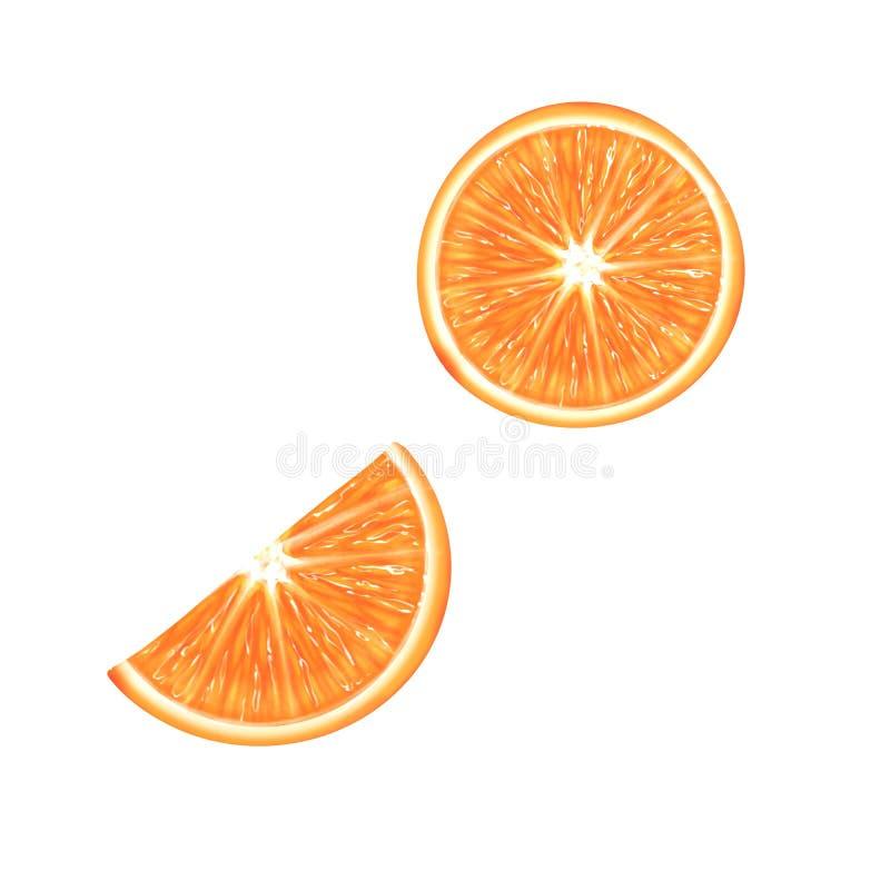 Fetta arancio isolata illustrazione di stock