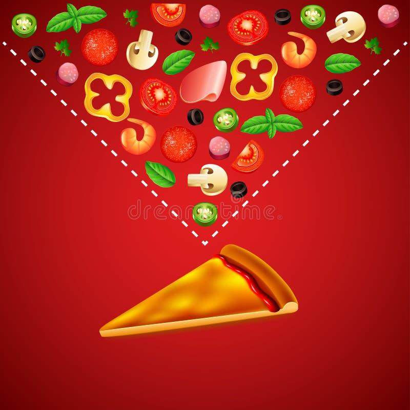 Fetta in bianco di pizza e di ingredienti su fondo rosso illustrazione vettoriale