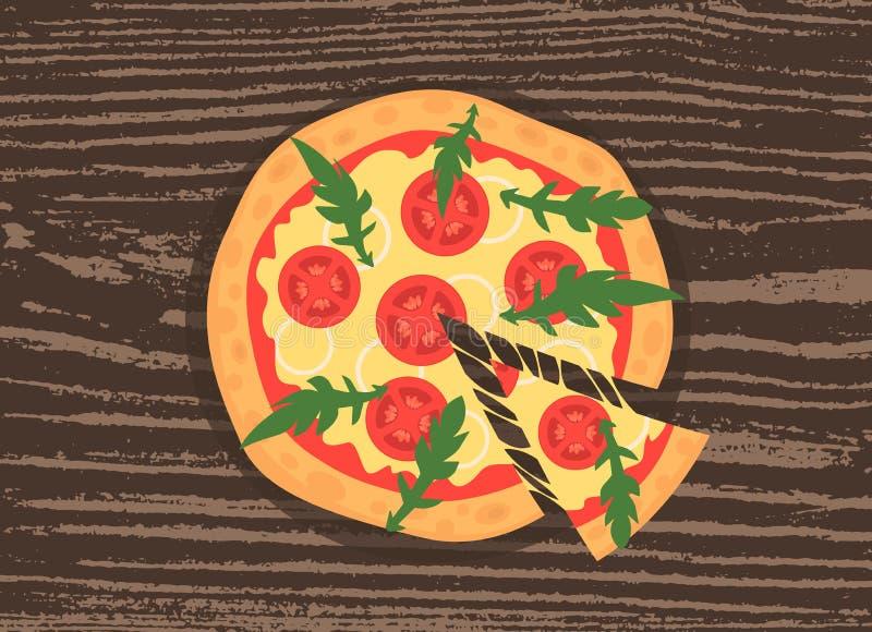 Fetta calda della pizza con formaggio di fusione su un fondo di legno rustico Illustrazione di vettore del margherita Vista super illustrazione vettoriale