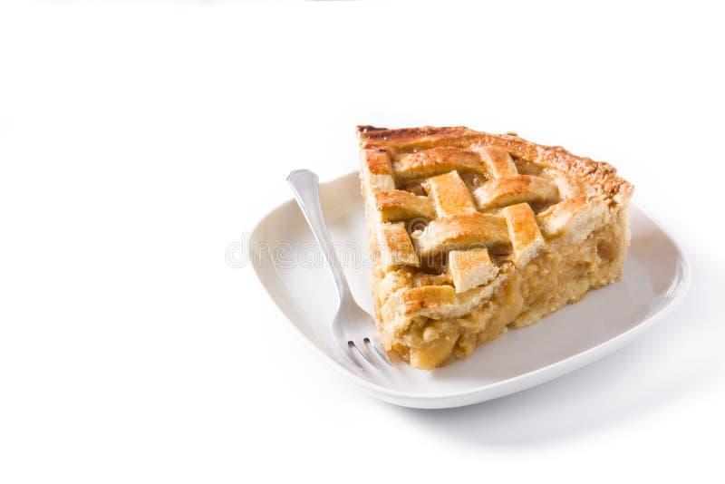 Fetta casalinga della torta di mele su fondo bianco immagini stock