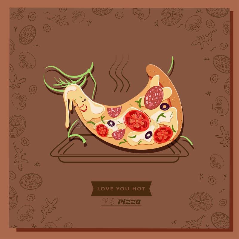 Fetta del carattere della pizza del fumetto che si trova sul vassoio bollente caldo illustrazione di stock