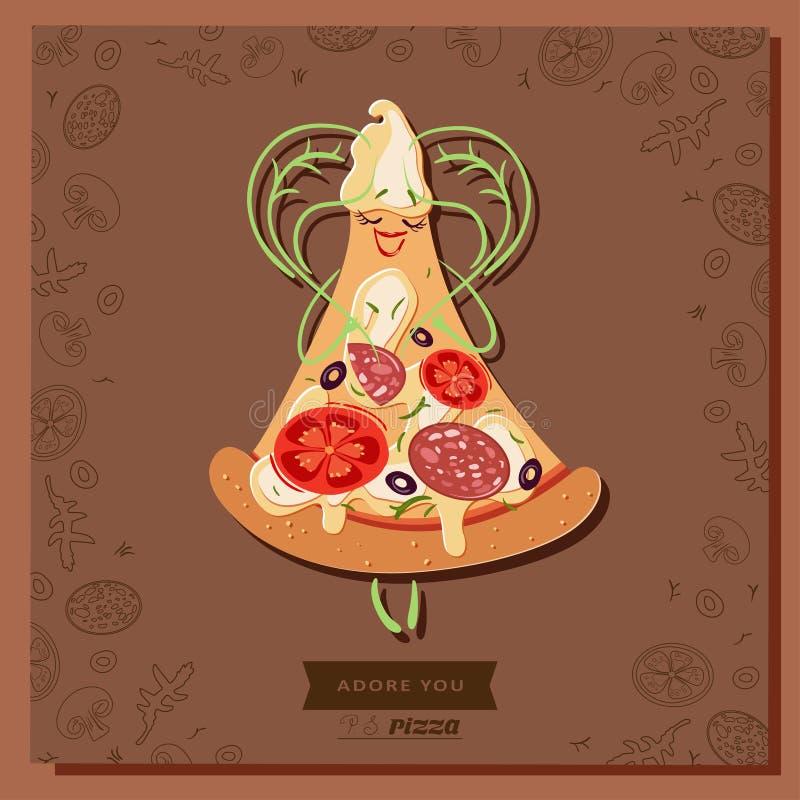 Fetta del carattere della pizza del fumetto con le foglie del basilico sotto forma di un cuore royalty illustrazione gratis
