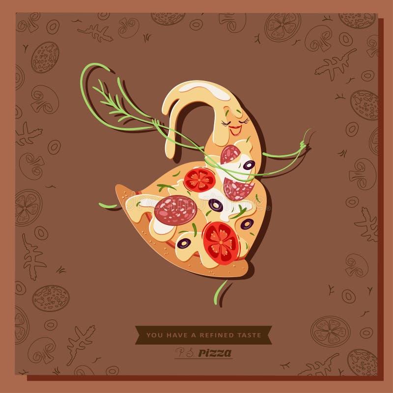 Fetta del carattere della pizza del fumetto con una foglia di basilico alla vita royalty illustrazione gratis