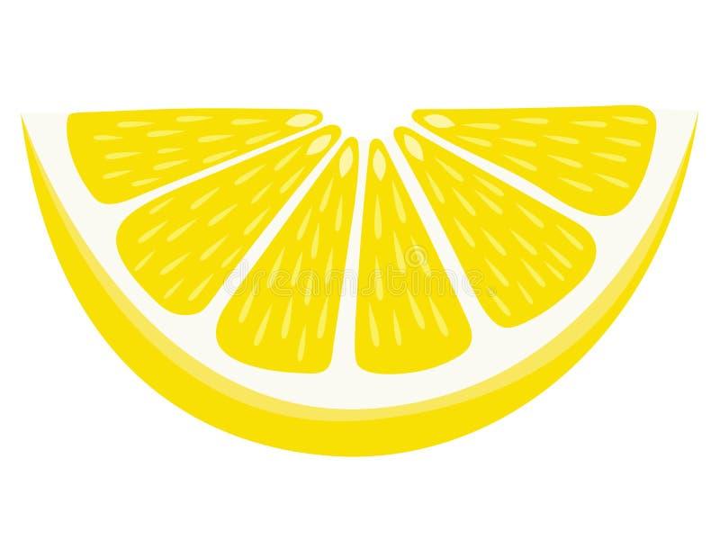 Fetta del cuneo di limone isolata su fondo bianco illustrazione vettoriale