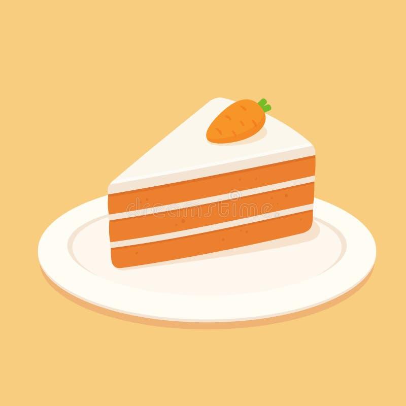 Fetta del dolce alle carote illustrazione di stock