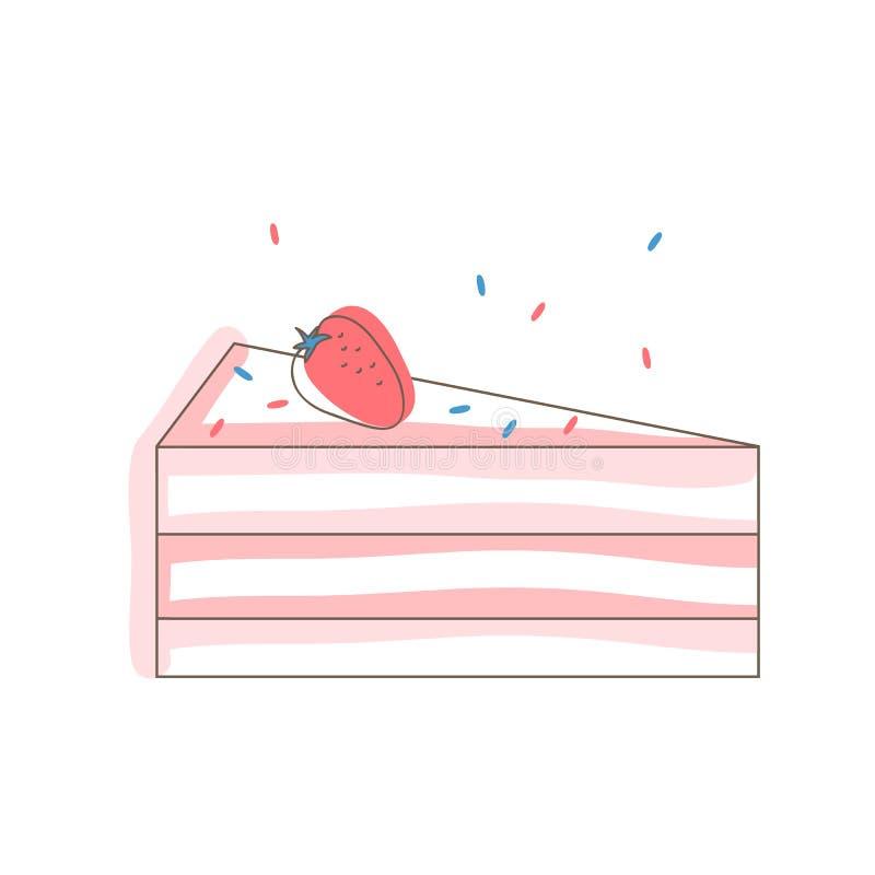 Fetta del dolce della fragola Oggetto isolato Priorità bassa bianca Vector l'illustrazione per il biglietto di auguri per il comp illustrazione di stock