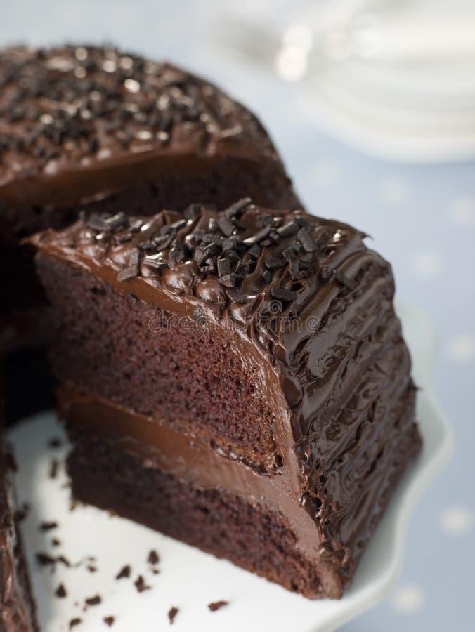 fetta del fondente di cioccolato della torta immagine stock