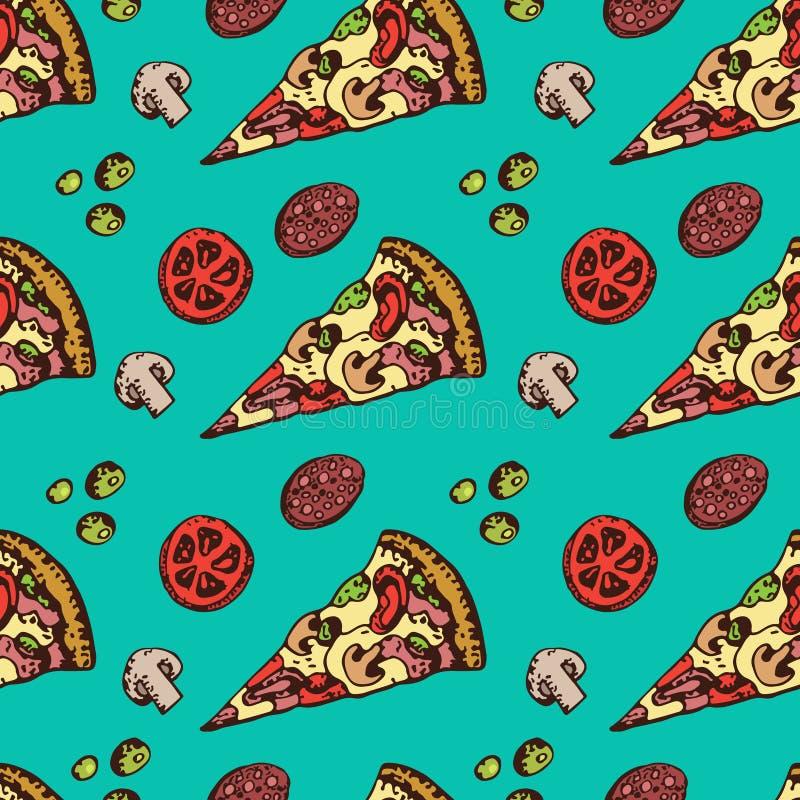 Fetta del fumetto di modello senza cuciture della pizza Ingredienti freschi salsiccia e pomodori royalty illustrazione gratis