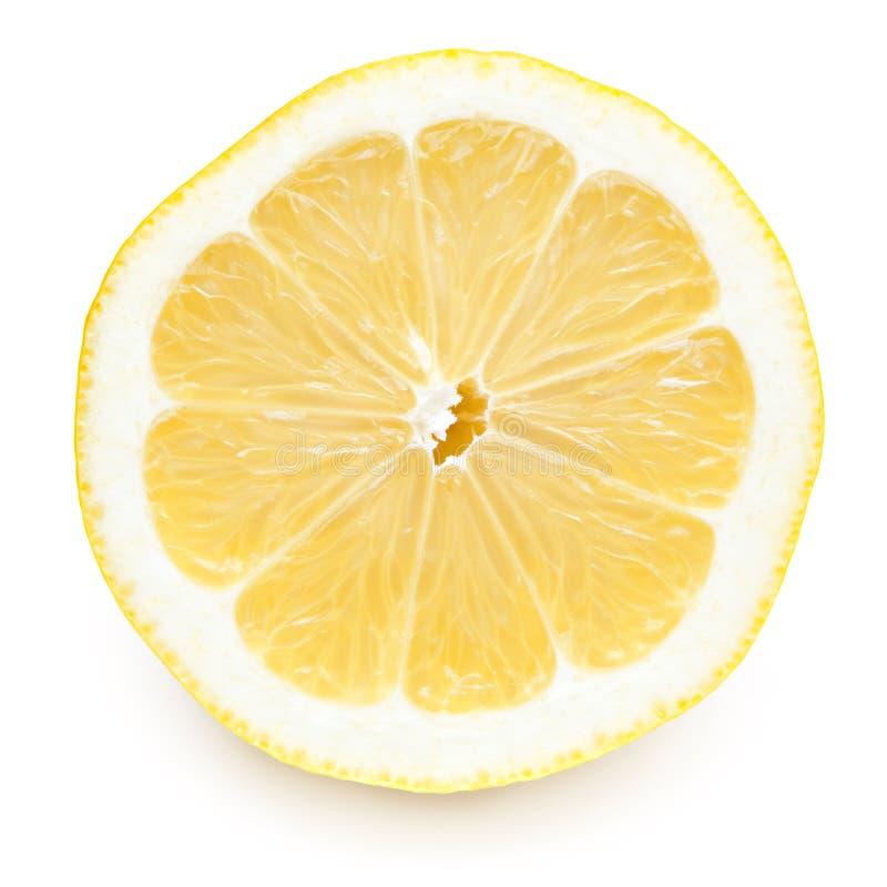 Fetta del limone con il percorso di residuo della potatura meccanica fotografia stock libera da diritti