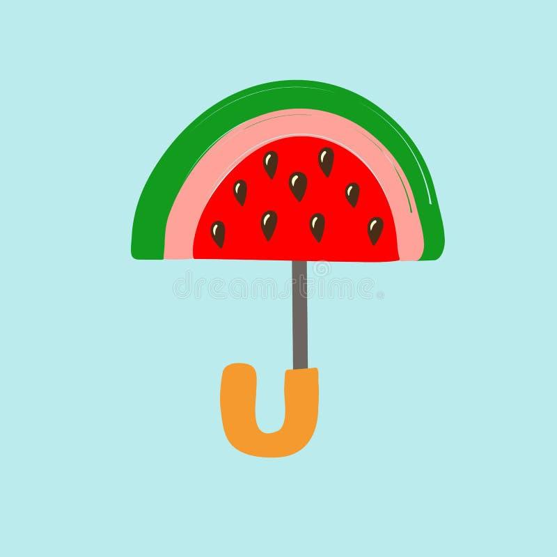 Fetta del semicerchio di anguria con i semi stilizzati come ombrello su fondo blu Illustrazione disegnata a mano creativa di vett royalty illustrazione gratis