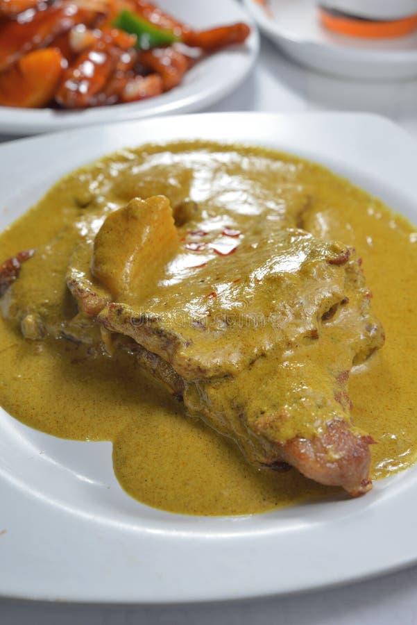 Fetta della carne di maiale della salsa di curry fotografia stock libera da diritti