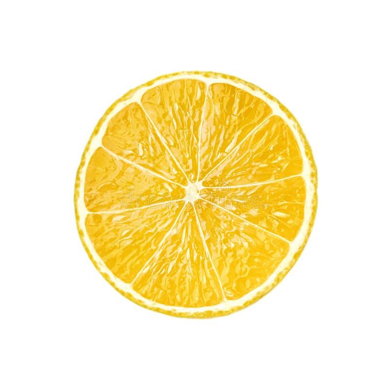 Fetta della frutta del limone isolata su fondo bianco fotografie stock