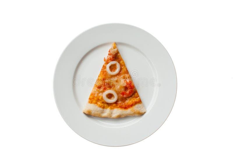 Fetta della pizza dei frutti di mare fotografia stock libera da diritti