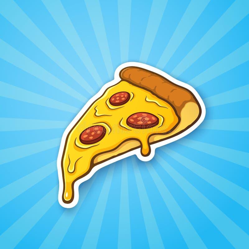 Fetta della pizza dell'autoadesivo su fondo blu con i raggi brillanti illustrazione di stock