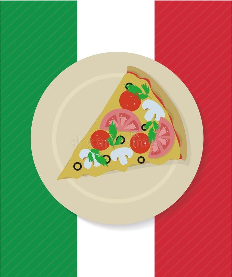 Fetta della pizza di vettore sul piatto immagini stock libere da diritti