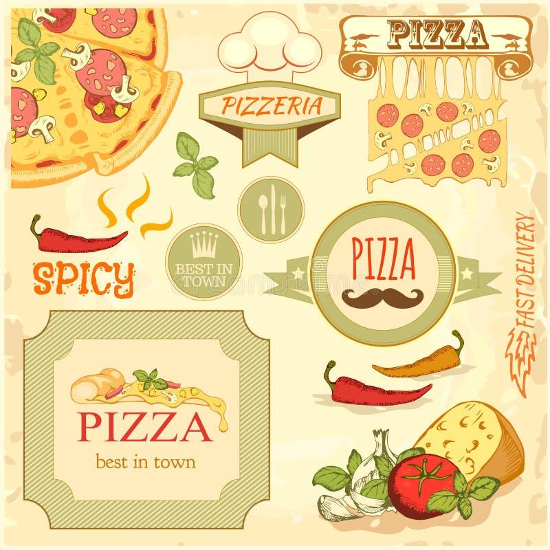 Fetta della pizza ed ingredienti fondo, progettazione di imballaggio dell'etichetta della scatola illustrazione vettoriale