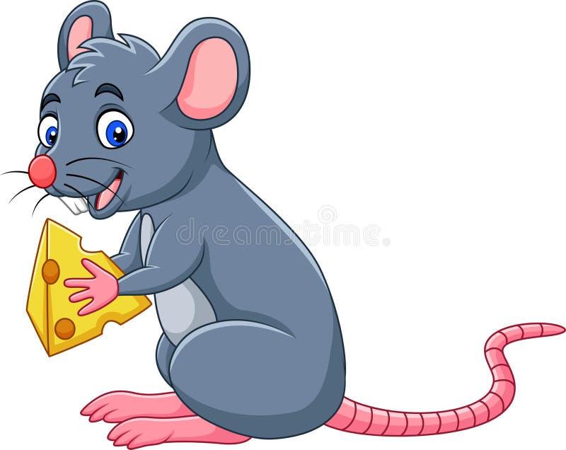 Fetta della tenuta del topo del fumetto di formaggio illustrazione di stock
