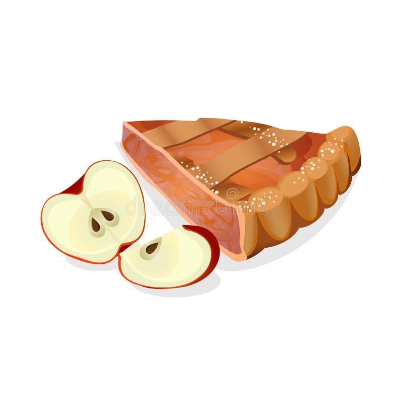 Fetta della torta di mele con i frutti maturi rossi freschi isolata su bianco royalty illustrazione gratis