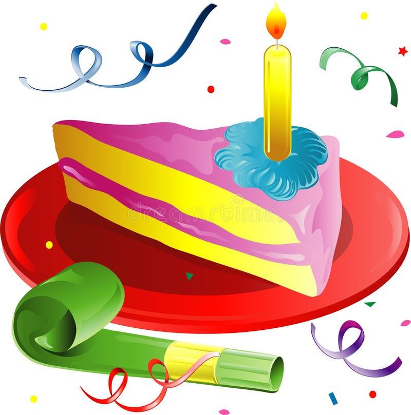 Fetta della torta e dei coriandoli illustrazione di stock