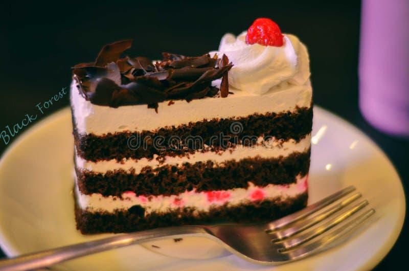 Fetta della torta della foresta nera immagini stock libere da diritti