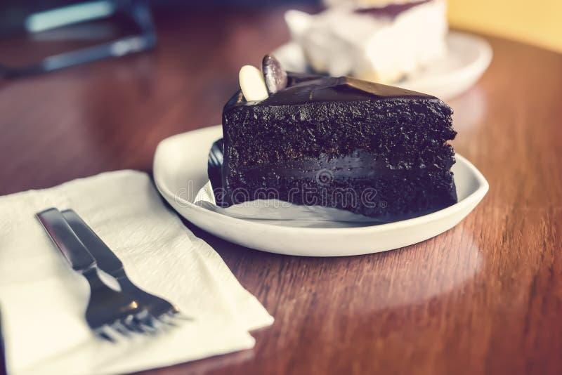 Fetta di brownie del dolce di cioccolato fotografia stock