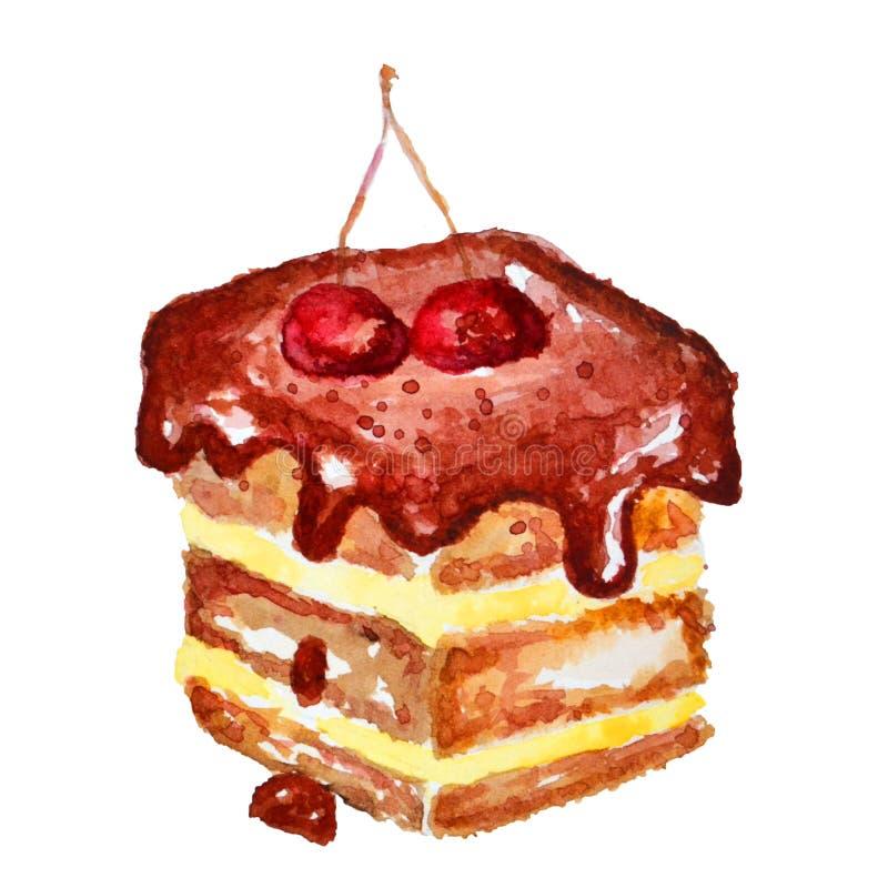 Fetta di dolci di cioccolato dell'acquerello con le ciliege illustrazione vettoriale